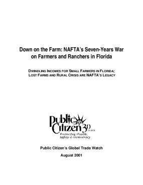 Down on the Farm: NAFTA's Seven-Years War on Farmers and Ranchers in Florida