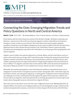 Connecting the Dots: Emerging Migration Trends and Policy Questions in North and Central America