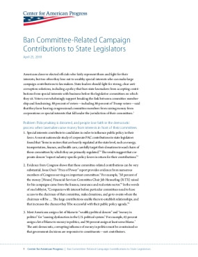 Ban Committee-Related Campaign Contributions to State Legislators