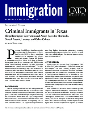 Criminal Immigrants in Texas: Illegal Immigrant Conviction and Arrest Rates for Homicide, Sexual Assault, Larceny, and Other Crimes