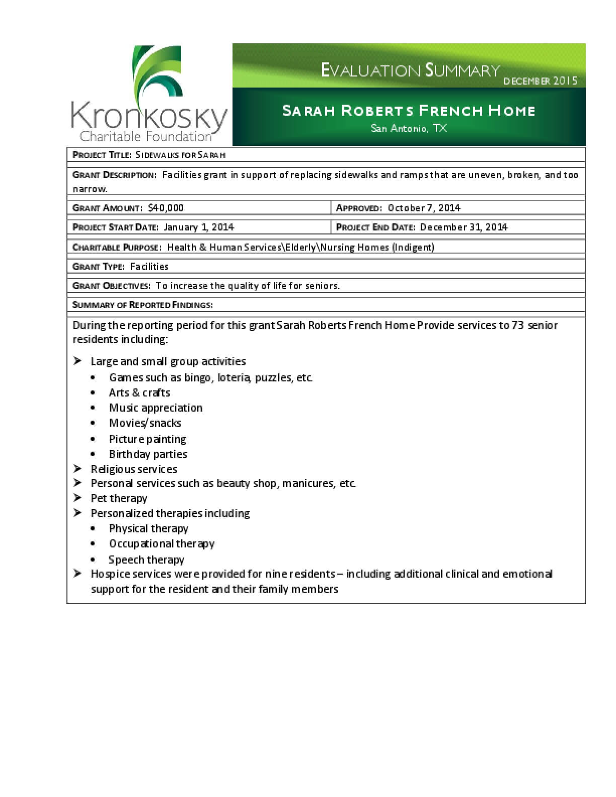 Sarah Roberts French Home Evaluation Summary