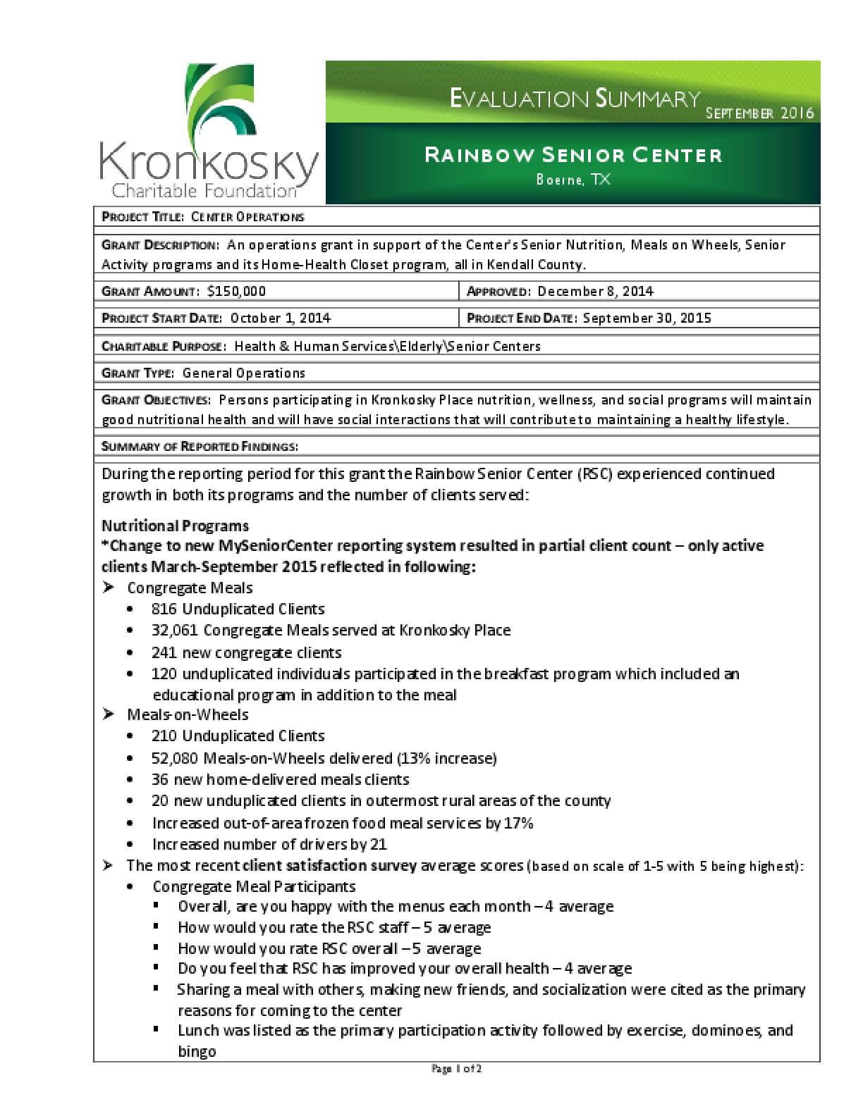 Rainbow Senior Center Evaluation Summary
