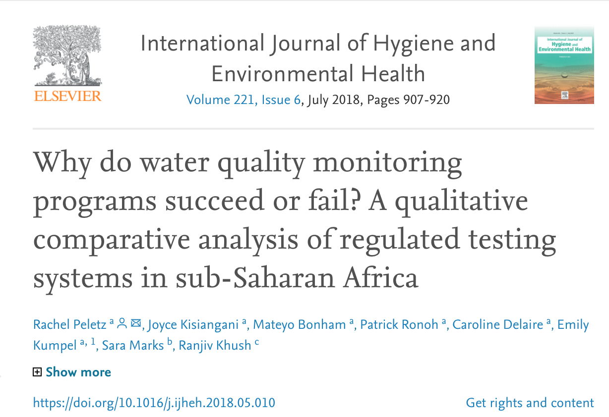 Why do Water Quality Monitoring Programs Succeed or Fail? A Qualitative Comparative Analysis of Regulated Testing Systems in Sub-Saharan Africa