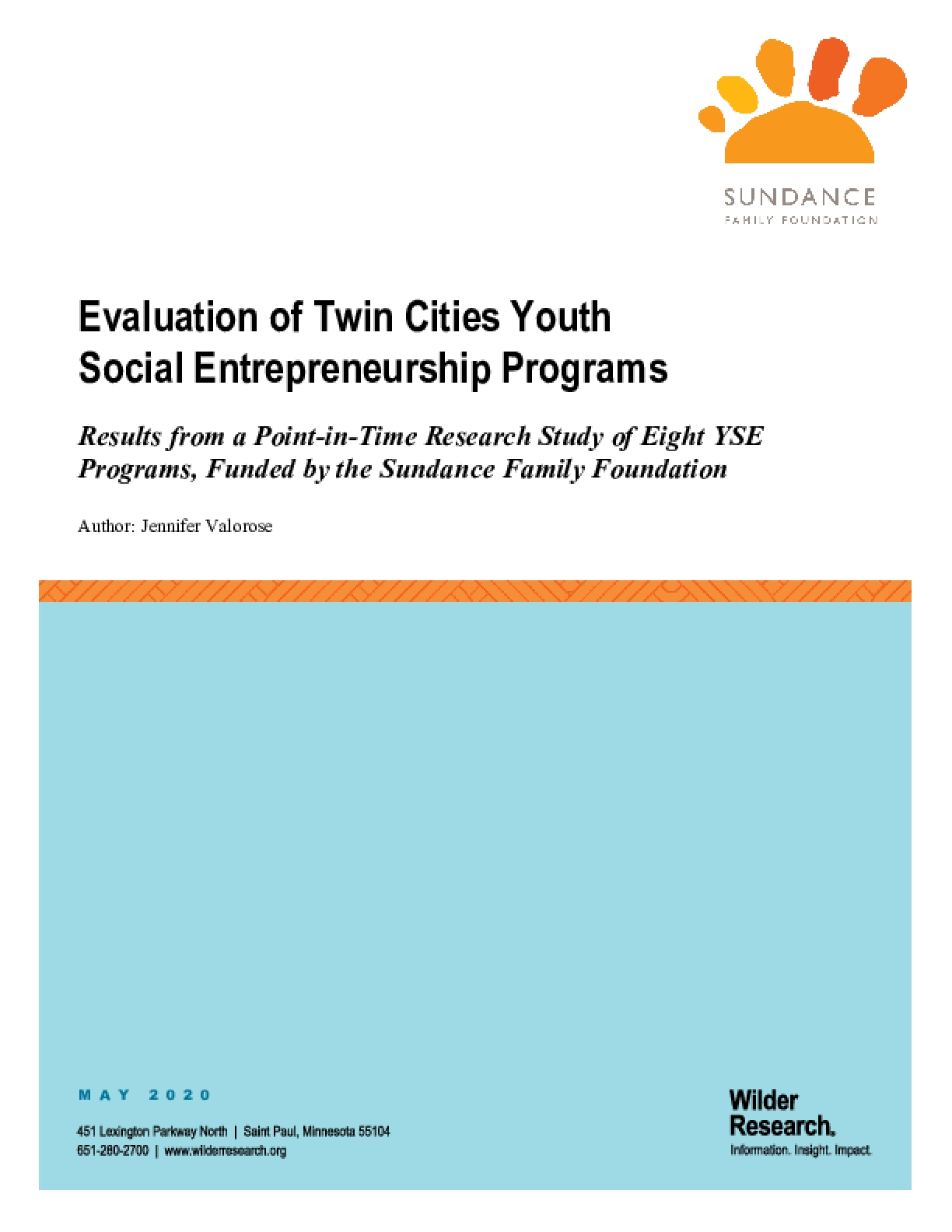 Evaluation of Twin Cities Youth Social Entrepreneurship Programs: Results from a Point-in-Time Research Study of Eight YSE Programs